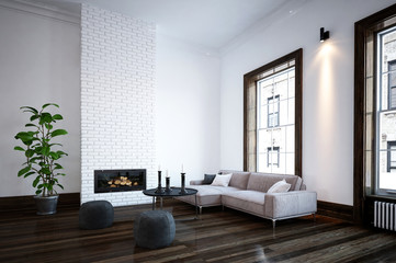 Minimalist living room interior with fire insert