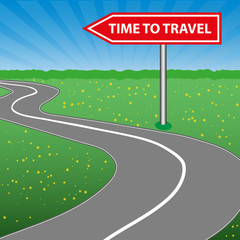 The concept of a time to travel. Road sign. Arrow. A winding road, sunny space, a forest and a meadow with flowers. Vector
