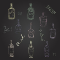 Vector set of bottles with alcohol, seamless pattern.