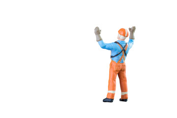 Miniature people engineer and worker occupation isolated with clipping paht on white background. Elegant Design with copy space for placement your text, mock up for industrial and construction concept