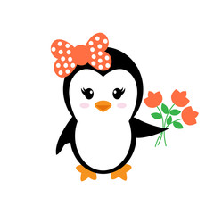 cartoon cute penguin girl with flowers