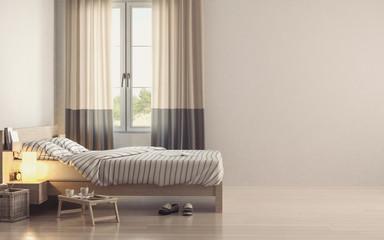 Light minimalist bedroom interior