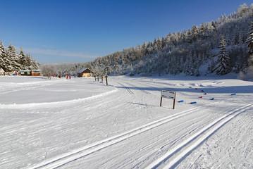 Ski cross country trail track way path winter landscape
