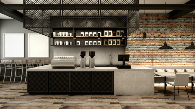 Cafe shop & Restaurant design Modern Loft counter steel black. Top counter concrete.side brick wall -D render