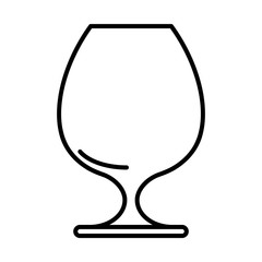 Icon of cognac glass black contour on white background of vector illustration
