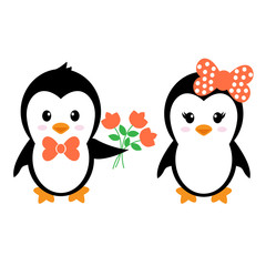 cartoon cute penguin with flowers set