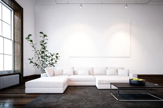 Large spacious modern minimalist living room
