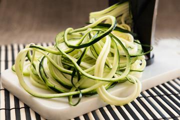 Preparing healthy spiral shredded zucchini squash