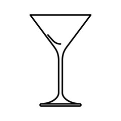 Icon of martini glass black contour on white background of vector illustration