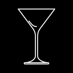 Icon of martini glass white contour on black background of vector illustration