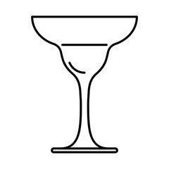 Icon of a glass of margarita black contour on white background of vector illustration