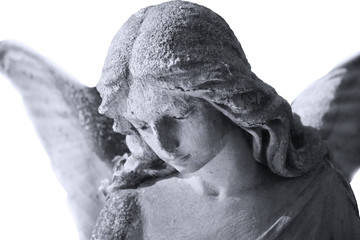 Vintage image of a sad angel against white background