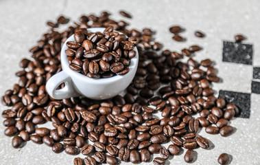 cup of black coffee grains