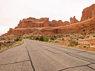 Nature National Park, Utah. The landscape and rocks. Roads and p