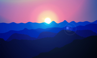 Sun over the mountains