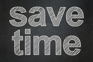 Timeline concept: Save Time on chalkboard background