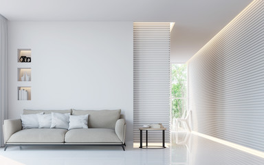 Modern white living room interior 3d rendering image.A blank wall with pure white. Decorate wall with extrude horizon line pattern and hidden warm light Fotoväggar