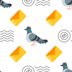 seamless pattern with dove and letter.