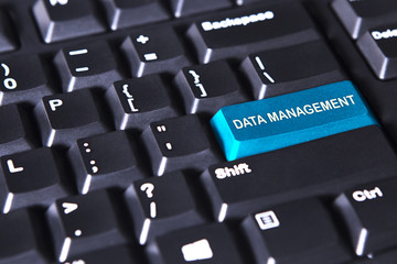 Text of data management on blue button