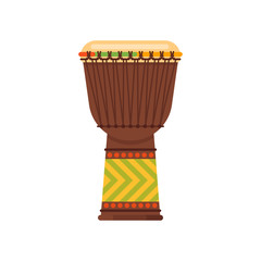 Vector flat style African drum musical instrument djembe.