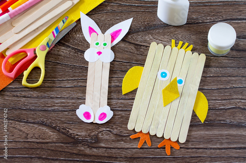 Childrens easter gift from wooden chopsticks toy chicken and easter childrens easter gift from wooden chopsticks toy chicken and easter bunny hand made negle Gallery