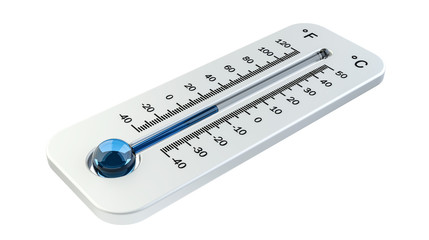 3D render cold white thermometer indicating low temperature