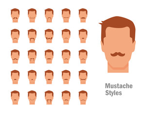 Set with various types of mustaches
