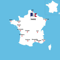 A detailed map of France with indexes of major cities of the country. National flag of the state. Vector illustration.