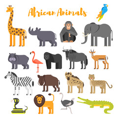 Vector flat style set of African animals.