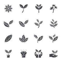 Leaf icons. Vector illustration.