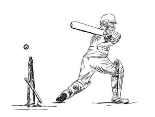 Hand drawn sketch of cricket batsman in vector illustration.
