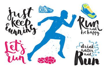 Running marathon logo jogging emblems label and fitness training athlete symbol sprint motivation badge success work isolated vector illustration.