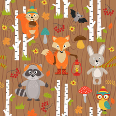 seamless pattern with animals of forest on brown background- vector illustration, eps