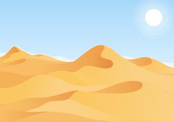 Hot desert landscape with blue sky