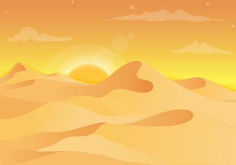Hot desert landscape with on the sunset