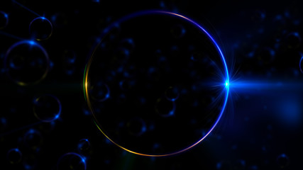 Abstract neon background. Shine swirling. Glowing spiral cover. .Bubbles elegant. Halo around. Power sparks data particle..Space tunnel. Glossy jellyfish. LED color ellipse. Glint glitter beam tech
