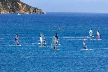 Windsurfing in Vassiliki bay, Lefkada island, Greece