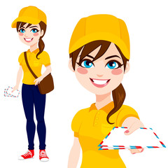 Beautiful post woman delivering mail with leather bag wearing yellow shirt uniform