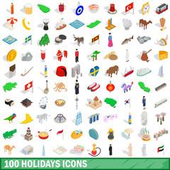 100 holidays icons set, isometric 3d style