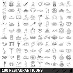 100 restaurant icons set, outline style
