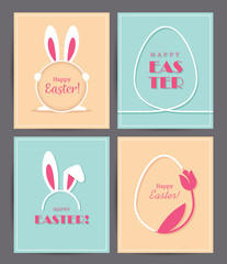 Four Easter greeting cards with eggs and bunny ears