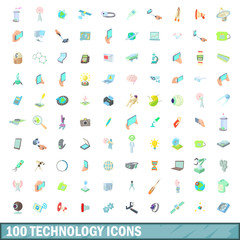 100 technology icons set, cartoon style