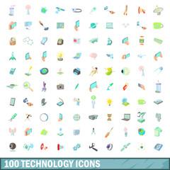 100 technology icons set, cartoon style