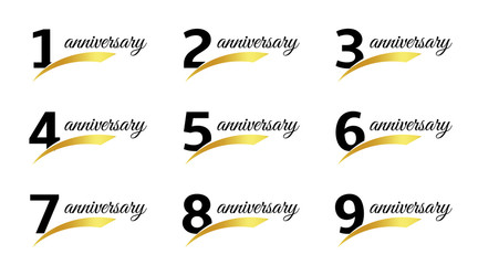 Isolated black color numbers with word anniversary icons set, greeting card elements collection vector illustrations.