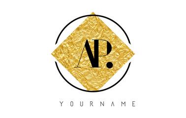AP Letter Logo with Golden Foil Texture.