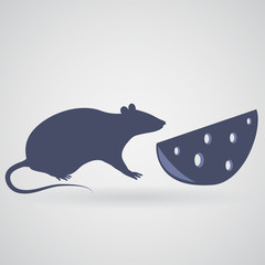 A rat and a piece of cheese with holes on a gray background with a shadow.