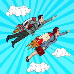 Pop Art Business People Flying on Rockets to Success. Creative Start Up Concept. Vector illustration