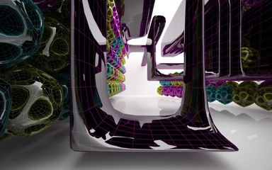 Abstract black and colored gradient parametric interiorwith window. 3D illustration and rendering.