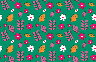 Lovely seamless pattern with cute flowers.