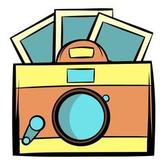 Retro camera icon cartoon